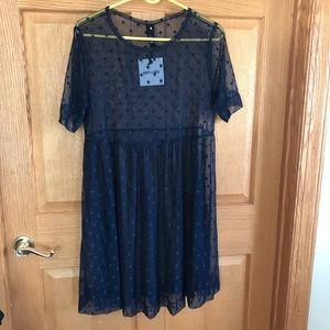 Agnes & D NWT short navy dot dress